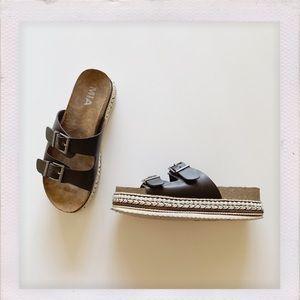 Adorned platform MIA slip on sandals